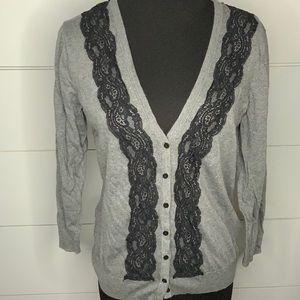 H&M Gray V- neck sweater with black lace Medium